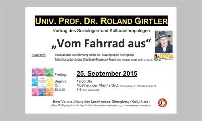 Vom Fahrrad aus - ein Vortrag mit Univ. Prof. Dr. Roland Girtler